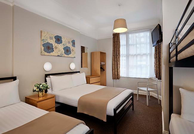 five bed hotel room