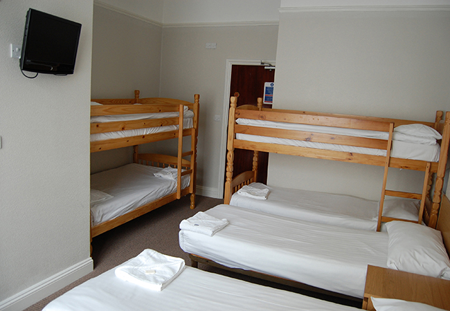 six bed hotel room
