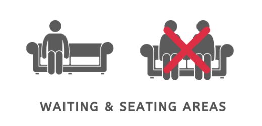 covid seating distancing pictogram
