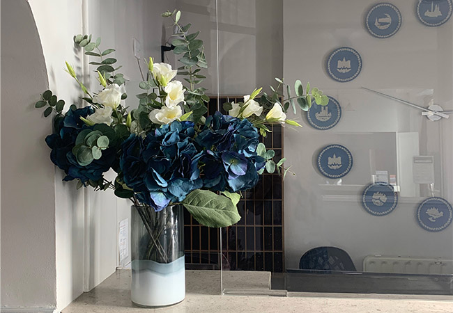 flowers at budget london hotel reception room